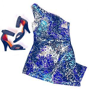 [Maggy London] One Shoulder Animal Print Dress